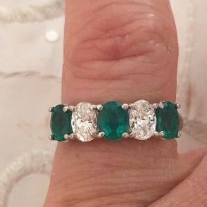 Jewelry - 14K White Gold Genuine Emerald & Diamond Ring